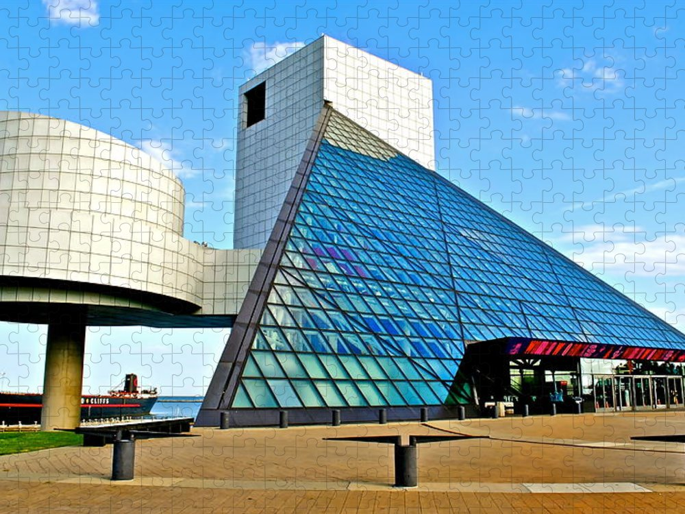 Rock Puzzle featuring the photograph Rock and Roll Hall of Fame by Frozen in Time Fine Art Photography