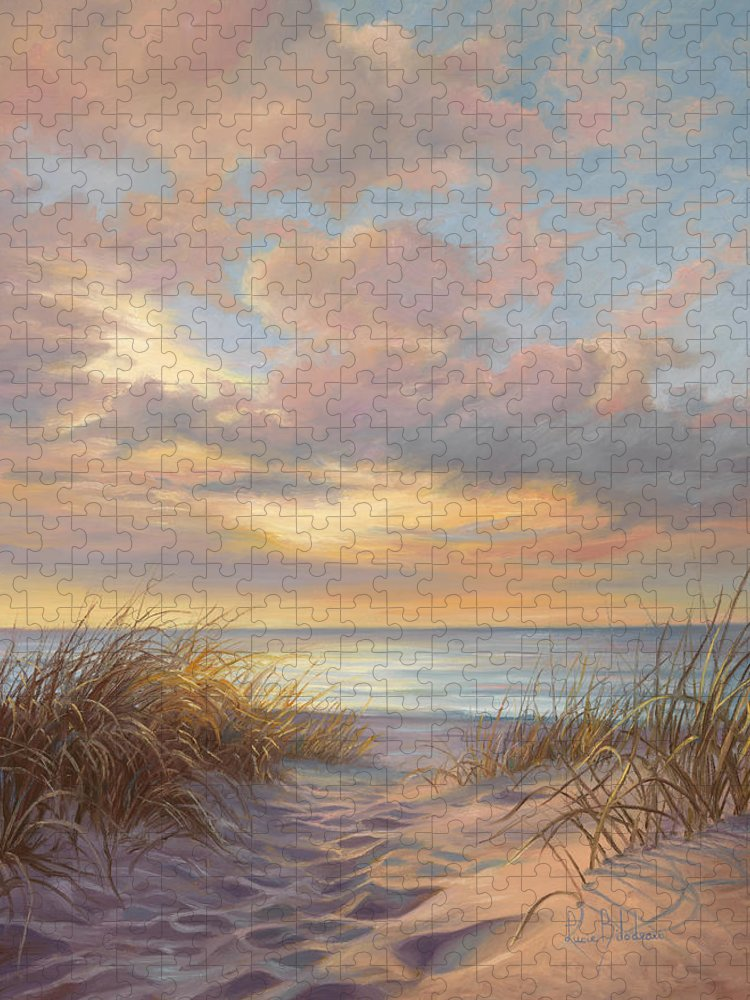 Beach Puzzle featuring the painting A Moment Of Tranquility by Lucie Bilodeau