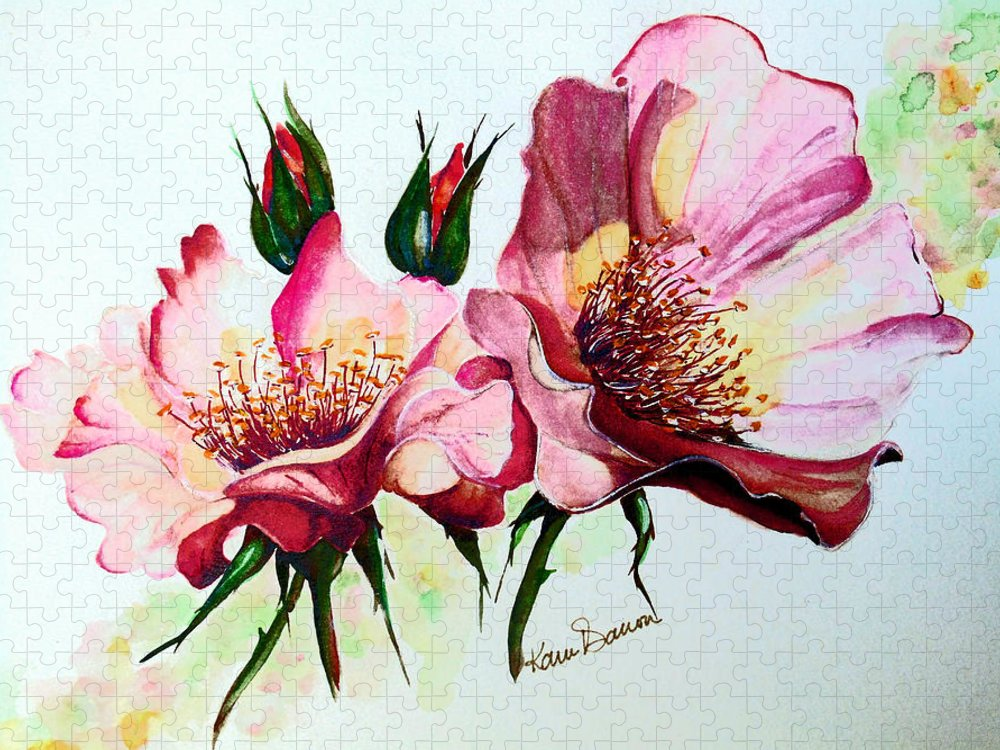 Flower Painting Puzzle featuring the painting A Rose Is A Rose by Karin Dawn Kelshall- Best