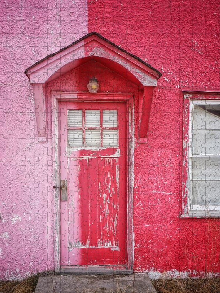 Built Structure Puzzle featuring the photograph Abandoned Pink And Red House by Stan Strange / Eyeem