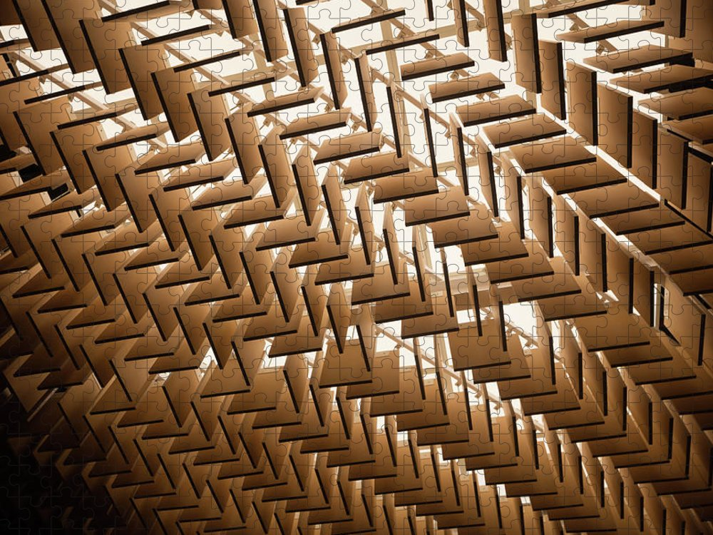 Material Puzzle featuring the photograph Abstract Architectural Pattern by Lena serditova