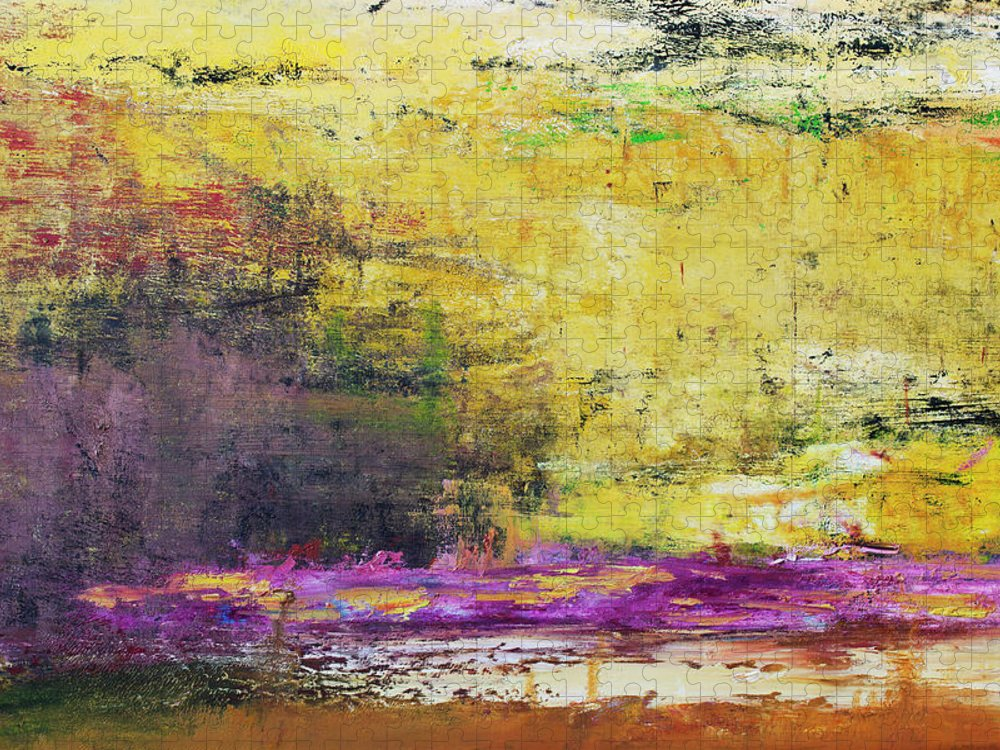 Oil Painting Puzzle featuring the photograph Abstract Painted Yellow Art Backgrounds by Ekely