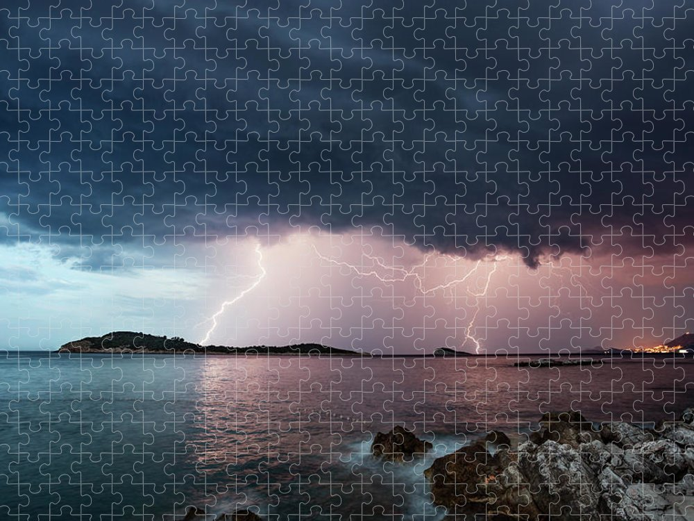 Adriatic Sea Puzzle featuring the photograph Adriatic Lightning by Image By Chris Winsor