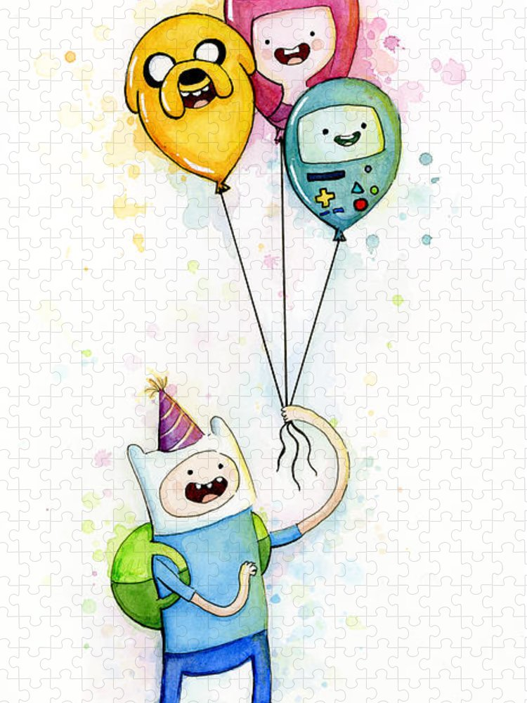 Jake Puzzle featuring the painting Adventure Time Finn with Birthday Balloons Jake Princess Bubblegum BMO by Olga Shvartsur