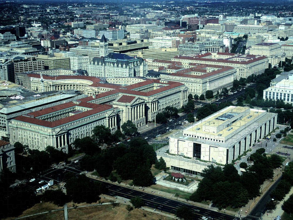 Downtown District Puzzle featuring the photograph Aerial View Of Constitution Avenue by Hisham Ibrahim