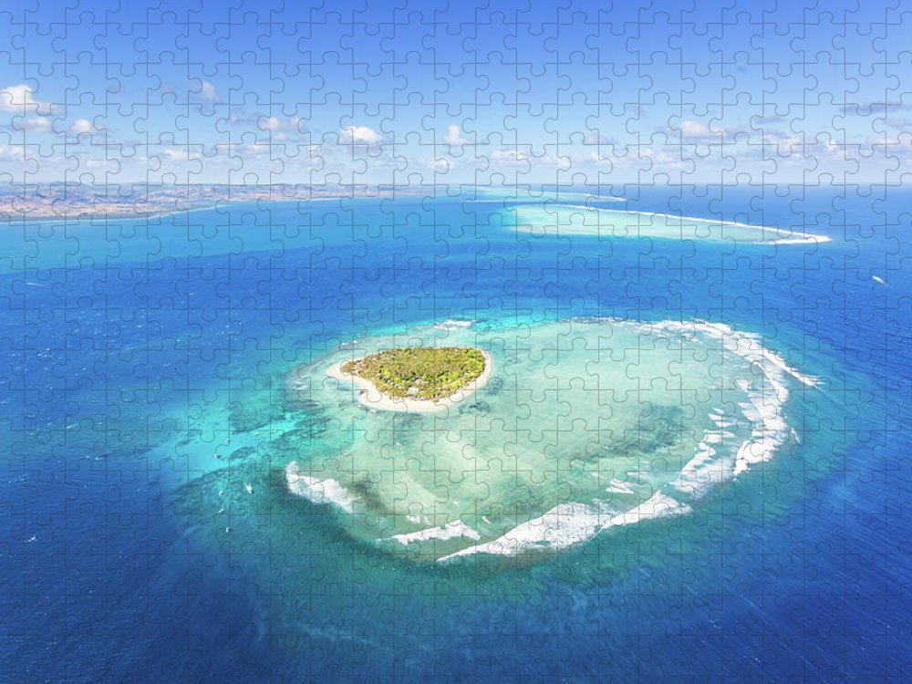 Tranquility Puzzle featuring the photograph Aerial View Of Heart Shaped Island by Matteo Colombo