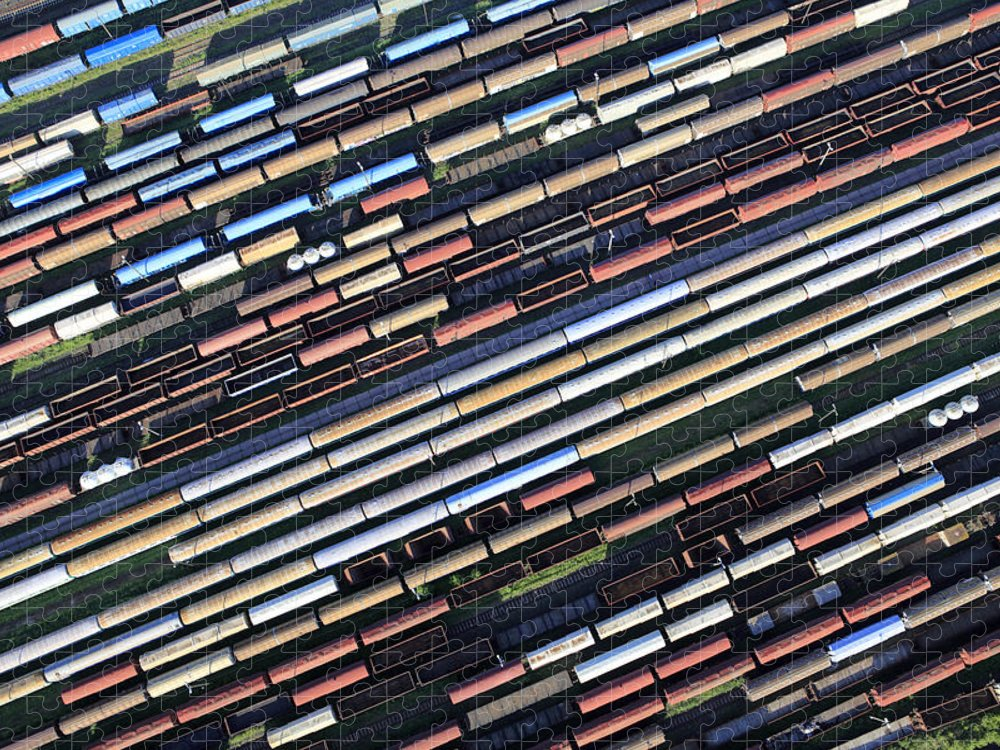 Freight Transportation Puzzle featuring the photograph Aerial View Of The Railway Station by Dariuszpa