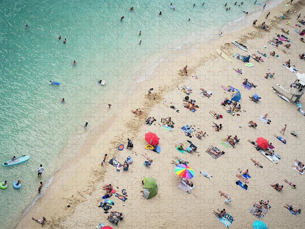 Honolulu Puzzle featuring the photograph Aerial View Of Tourists On Beach by Alberto Guglielmi