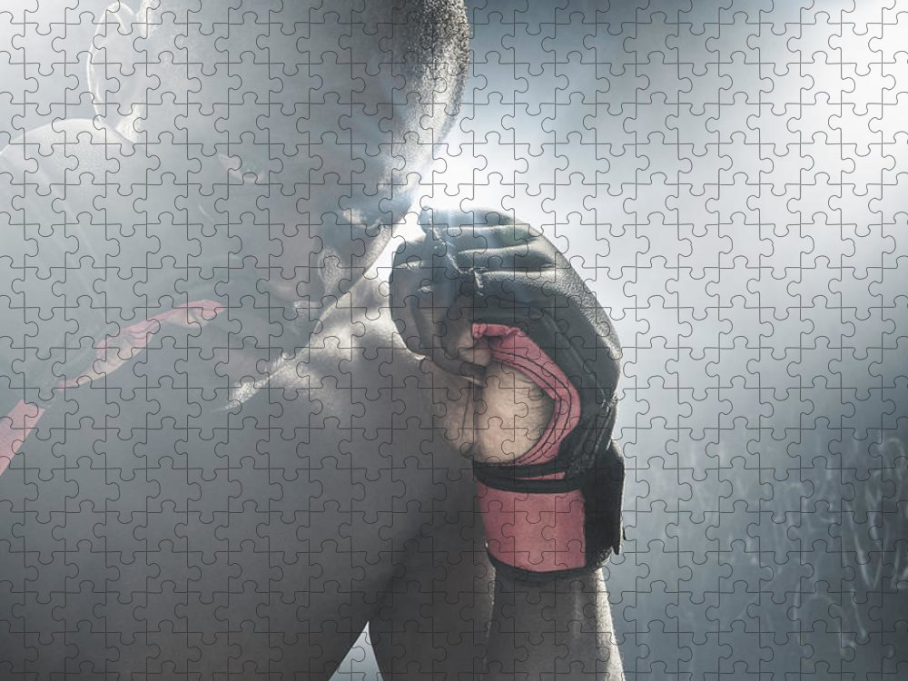 Young Men Puzzle featuring the photograph African American Mma Boxer With Gloves by John Fedele