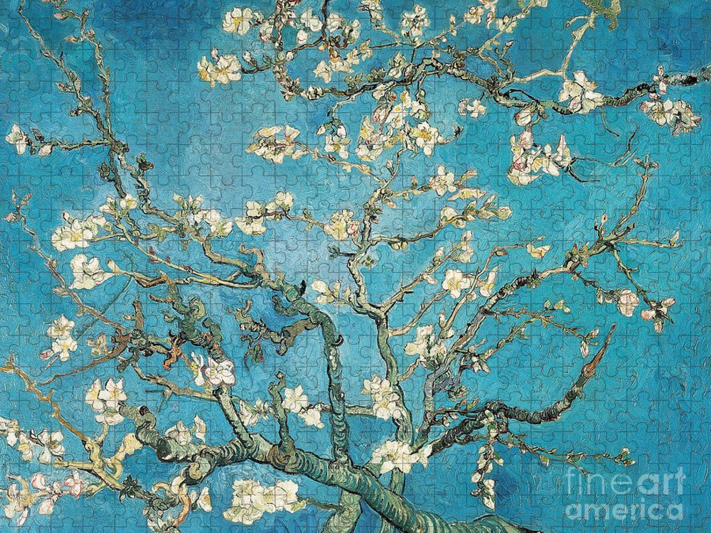 Van Puzzle featuring the painting Almond branches in bloom by Vincent van Gogh