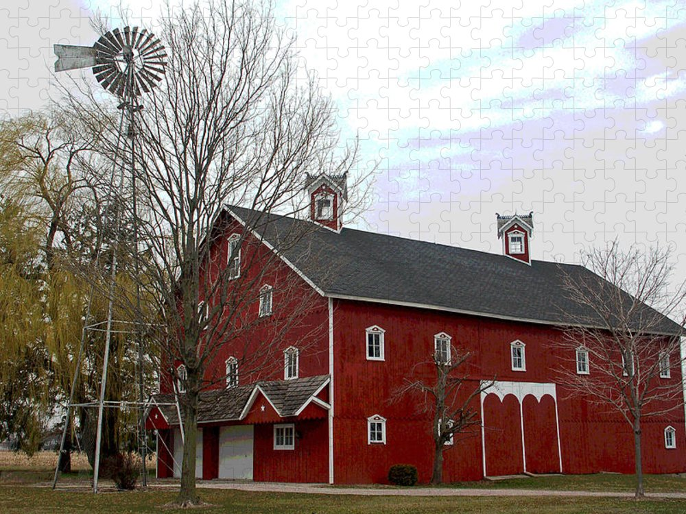 Amish Barn Puzzle featuring the photograph Amish Barn and Wind Mill - Allen County Indiana by Suzanne Gaff