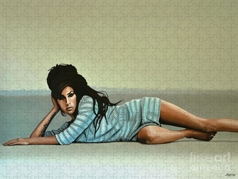 Amy Winehouse Puzzle featuring the painting Amy Winehouse 2 by Paul Meijering