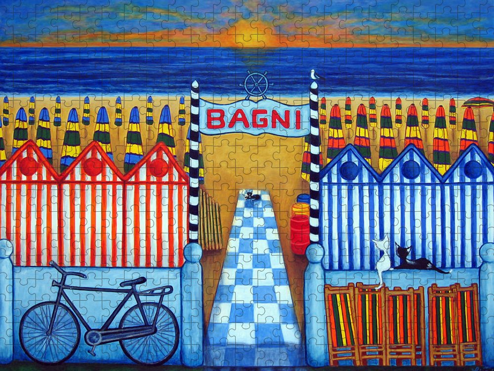 Italy Puzzle featuring the painting An Italian Summer's End by Lisa Lorenz