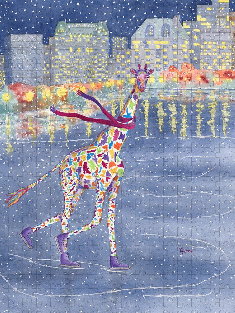 Giraffe Puzzle featuring the painting Annabelle on Ice by Rhonda Leonard