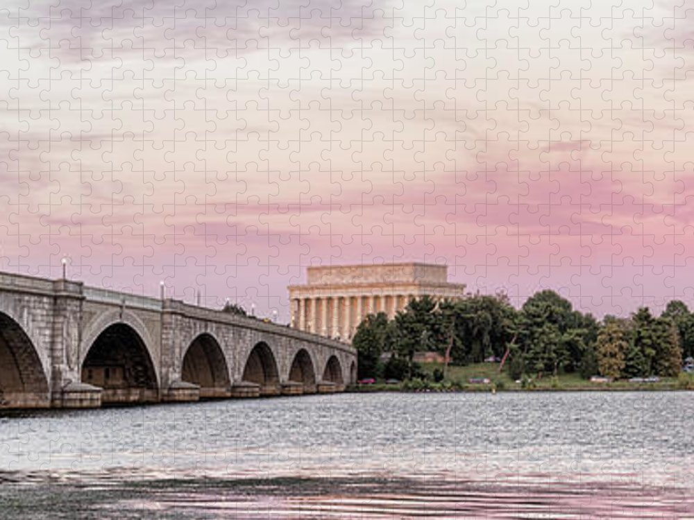 Photography Puzzle featuring the photograph Arlington Memorial Bridge With Lincoln by Panoramic Images