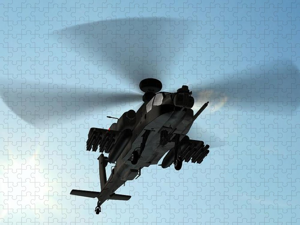 Wind Puzzle featuring the photograph Armed Longbow Apache Helicopter In by Bestgreenscreen