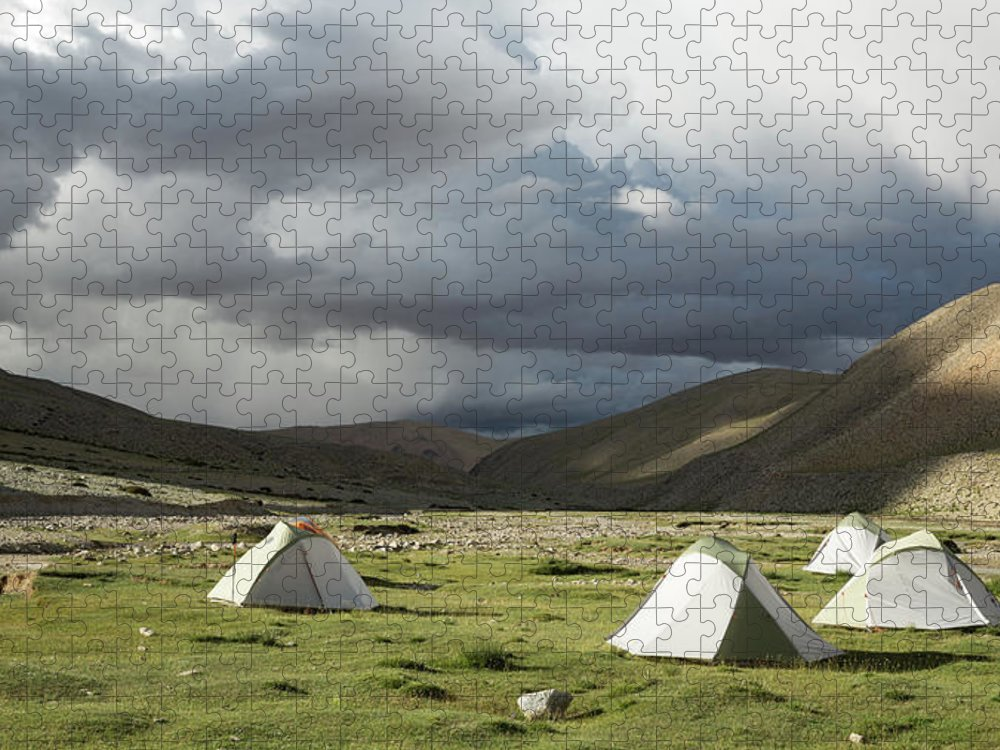 Tranquility Puzzle featuring the photograph Atmospheric Grassy Camping by Jamie Mcguinness - Project Himalaya