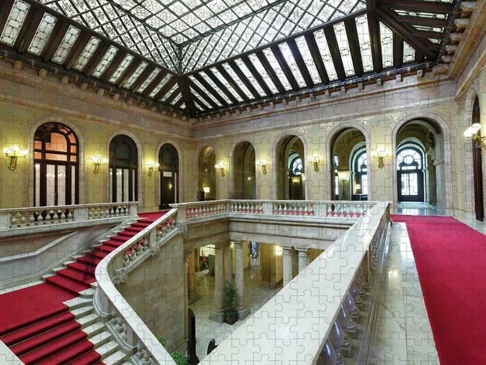 Ceiling Puzzle featuring the photograph Atrium, Catalonia Parliament Building by Cultura Rm Exclusive/quim Roser