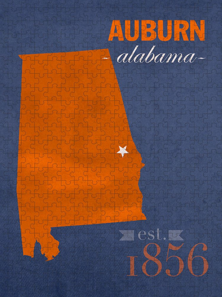 Auburn University Puzzle featuring the mixed media Auburn University Tigers Auburn Alabama College Town State Map Poster Series No 016 by Design Turnpike