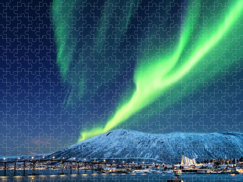Scenics Puzzle featuring the photograph Aurora Borealis Over Tromso Port by Mike Hill