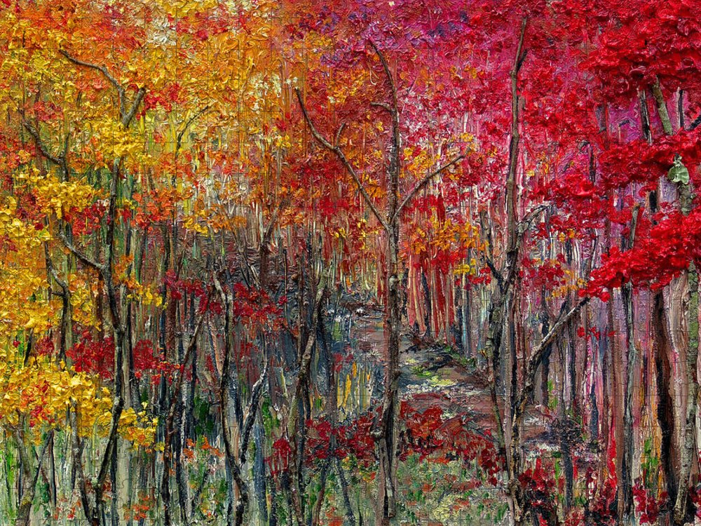 Autumn Puzzle featuring the painting Autumn In The Woods by Karin Dawn Kelshall- Best