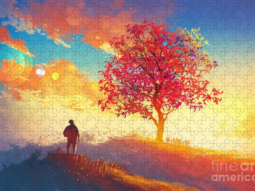 Love Puzzle featuring the digital art Autumn Landscape With Alone Tree by Tithi Luadthong