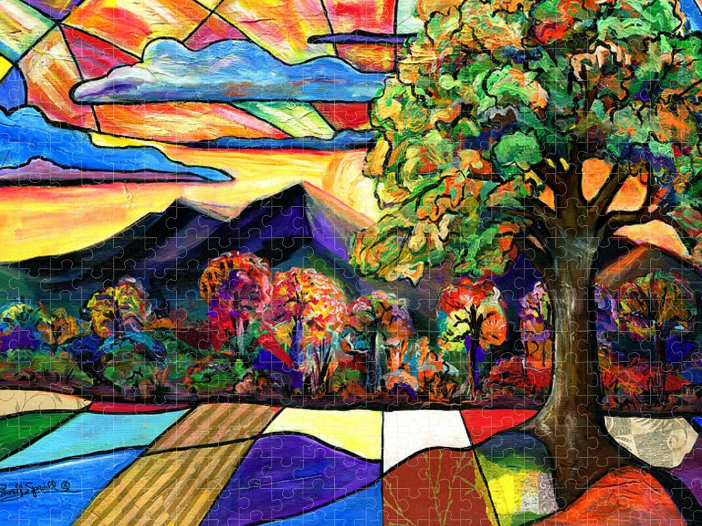 Everett Spruill Puzzle featuring the painting Autumn Sunrise by Everett Spruill