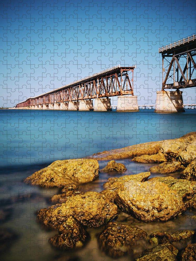 Seascape Puzzle featuring the photograph Bahia Honda State Park Florida by Ferrantraite