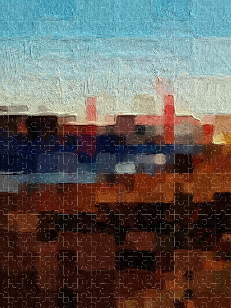 Abstract Art Puzzle featuring the painting Baker Beach by Linda Woods