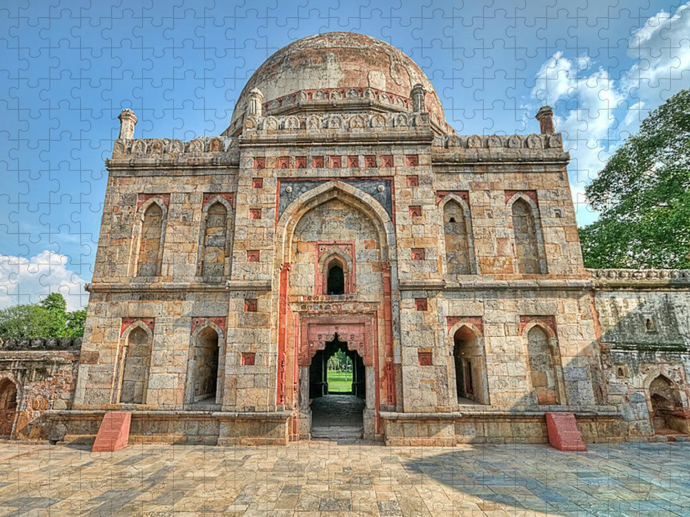 Tranquility Puzzle featuring the photograph Bara Gumbad, Lodi Gardens, New Delhi by Mukul Banerjee Photography