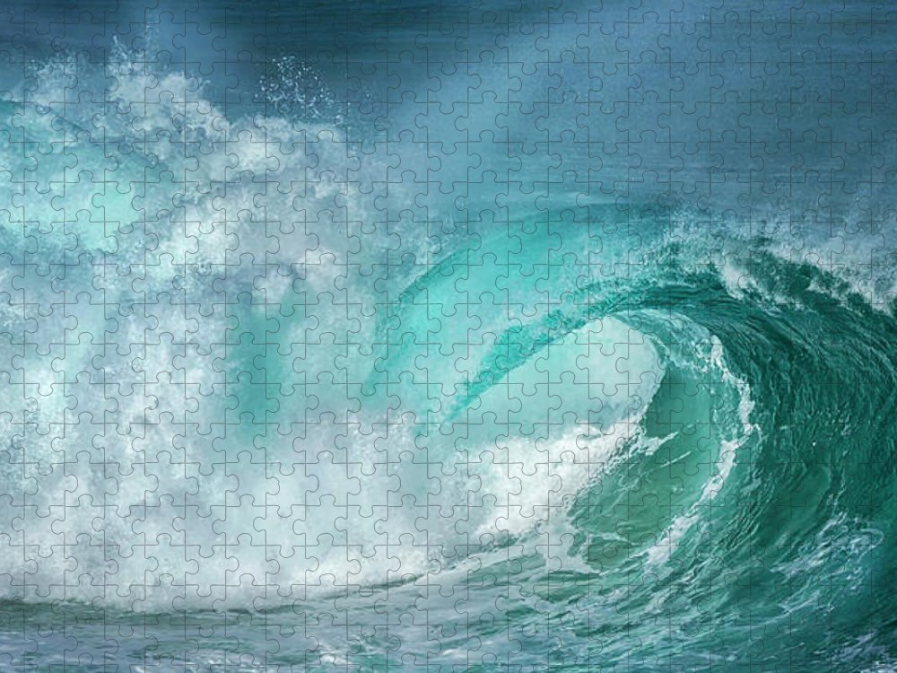 Panoramic Puzzle featuring the photograph Barrel In The Surf by Simon Phelps Photography