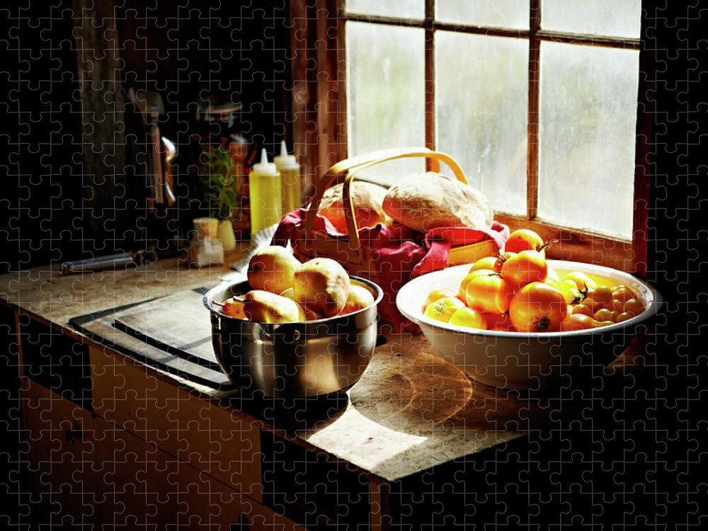 Temptation Puzzle featuring the photograph Basket Of Bread Pears And Tomatoes On by Thomas Barwick
