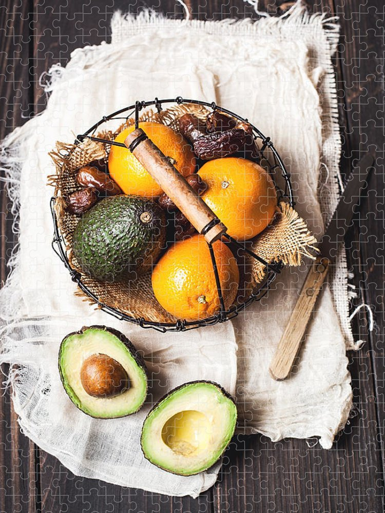 San Francisco Puzzle featuring the photograph Basket With Avocado, Oranges And Dates by One Girl In The Kitchen