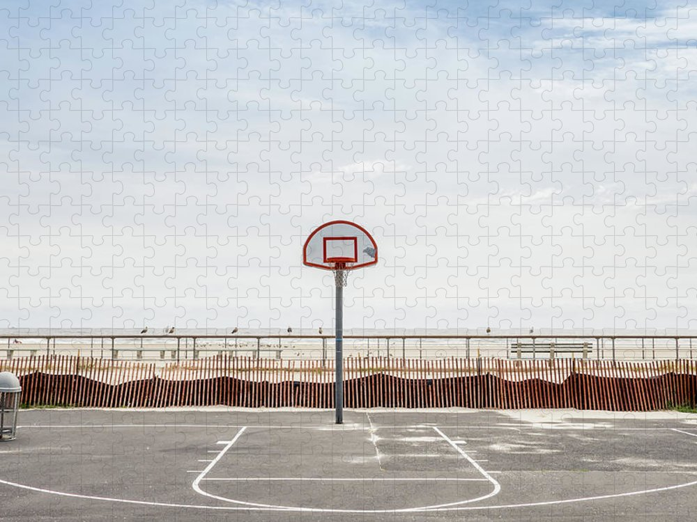 Empty Puzzle featuring the photograph Basketball Court Against Cloudy Sky by Sebastian Kopp / Eyeem