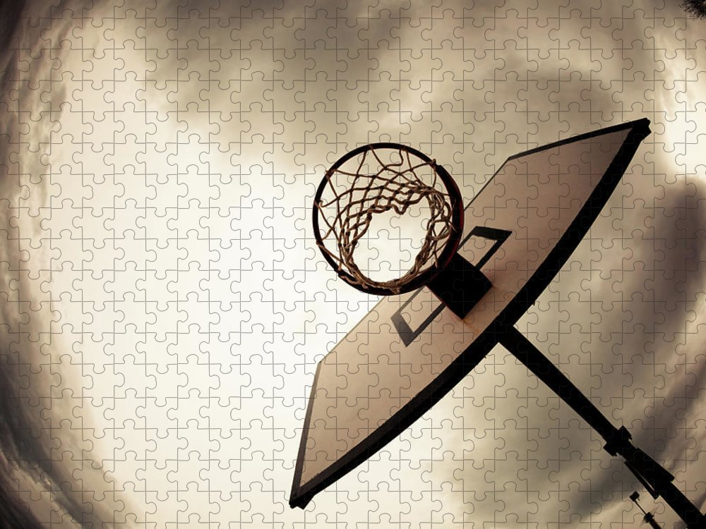 Goal Puzzle featuring the photograph Basketball Hoop, Dramatic Sky by Zodebala