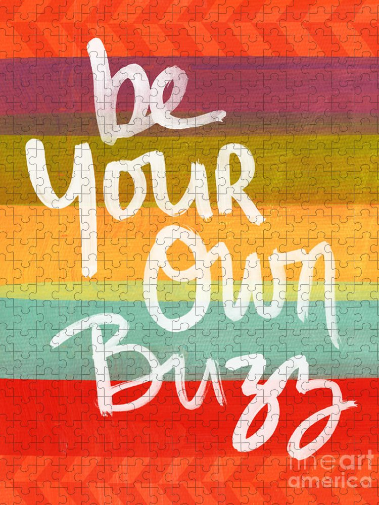 Stripes Puzzle featuring the painting Be Your Own Buzz by Linda Woods