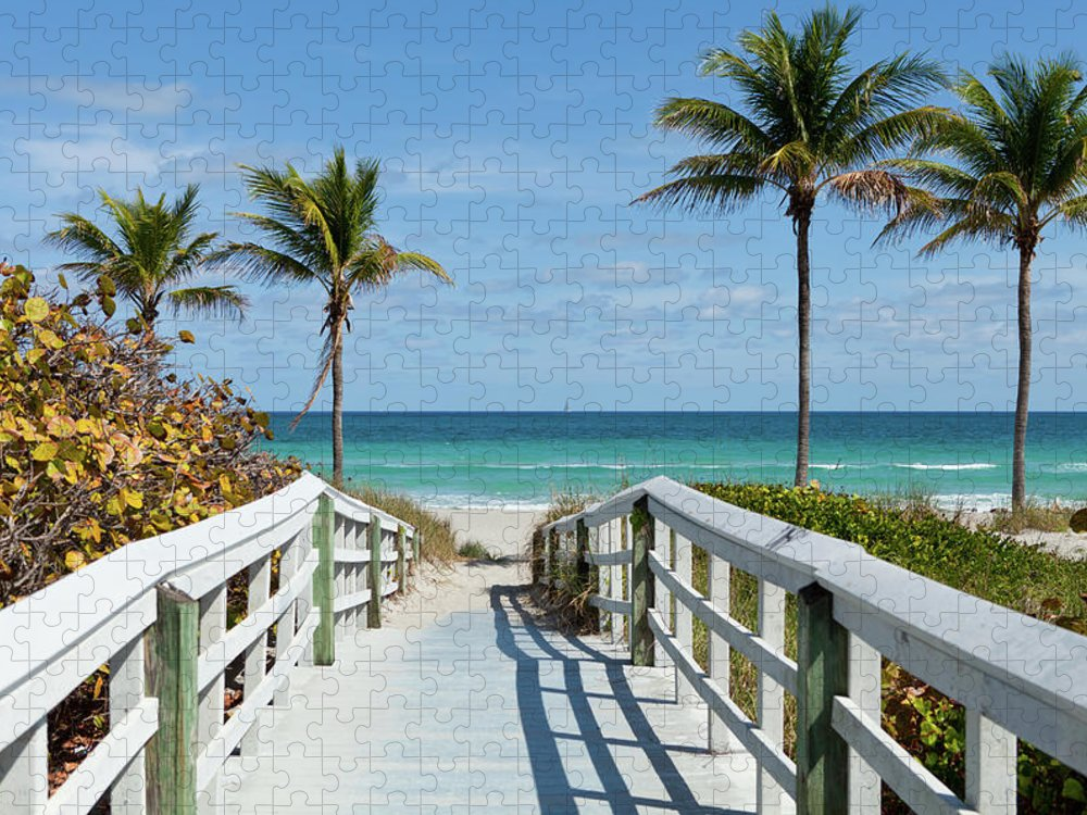 Florida Puzzle featuring the photograph Beach Entrance, Florida by Kubrak78