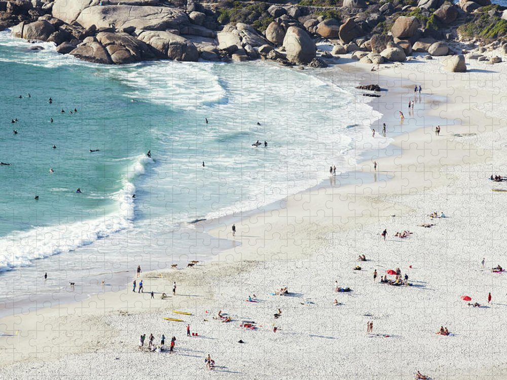 Sunbathing Puzzle featuring the photograph Beach With Swimmers Cape Town by Michael Blann