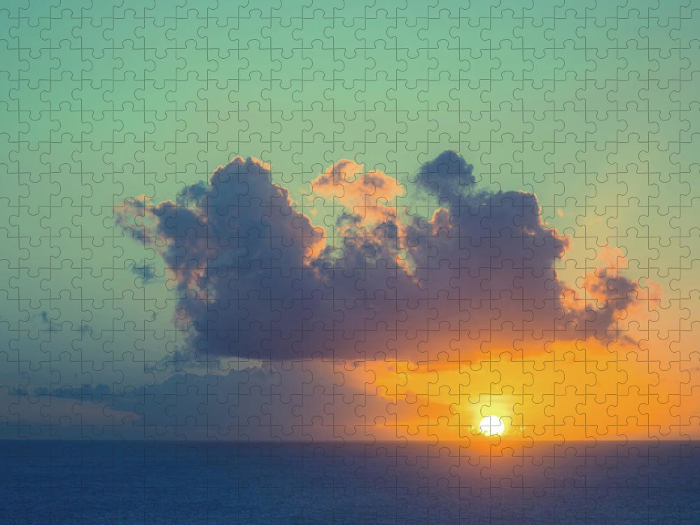 Scenics Puzzle featuring the photograph Beautiful Sunset On Sea Horizon by Jaminwell