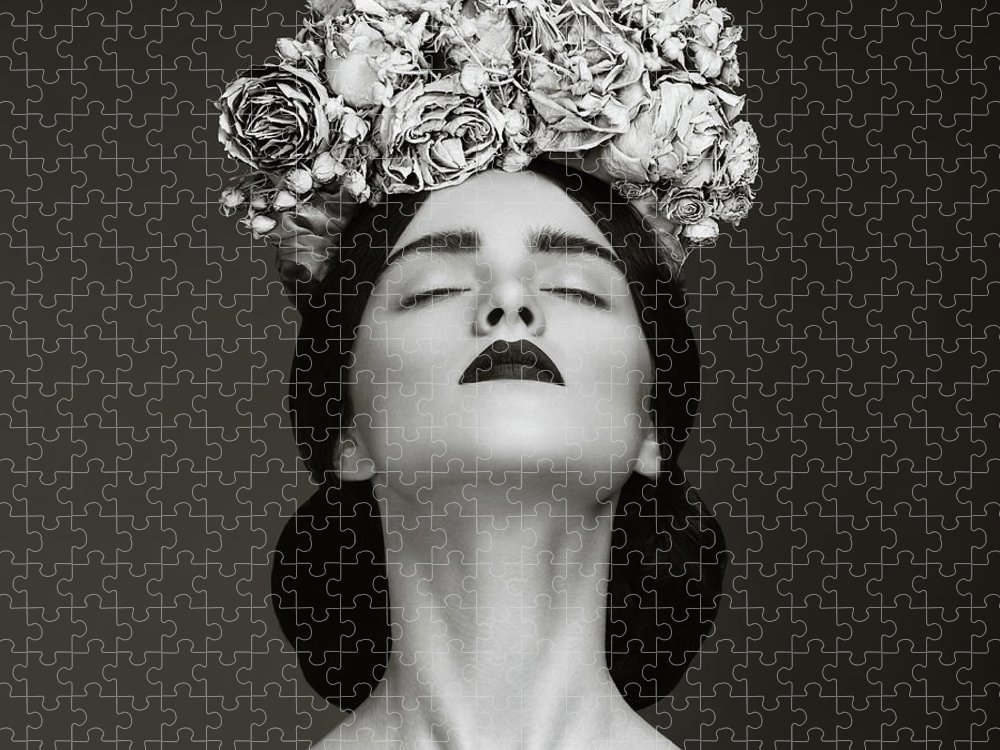 Crown Puzzle featuring the photograph Beautiful Woman With Wreath Of Flowers by Lambada