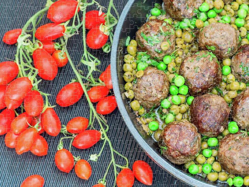 Meatball Puzzle featuring the photograph Beef Meatballs With Peas And Lemon by Olga Solan, The Art Photographer