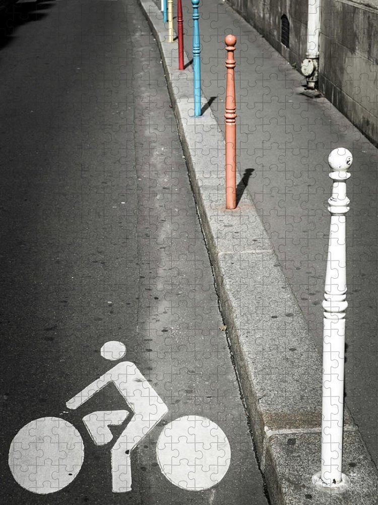 Pole Puzzle featuring the photograph Bicycle Symbol In Paris by Carlos Sanchez Pereyra