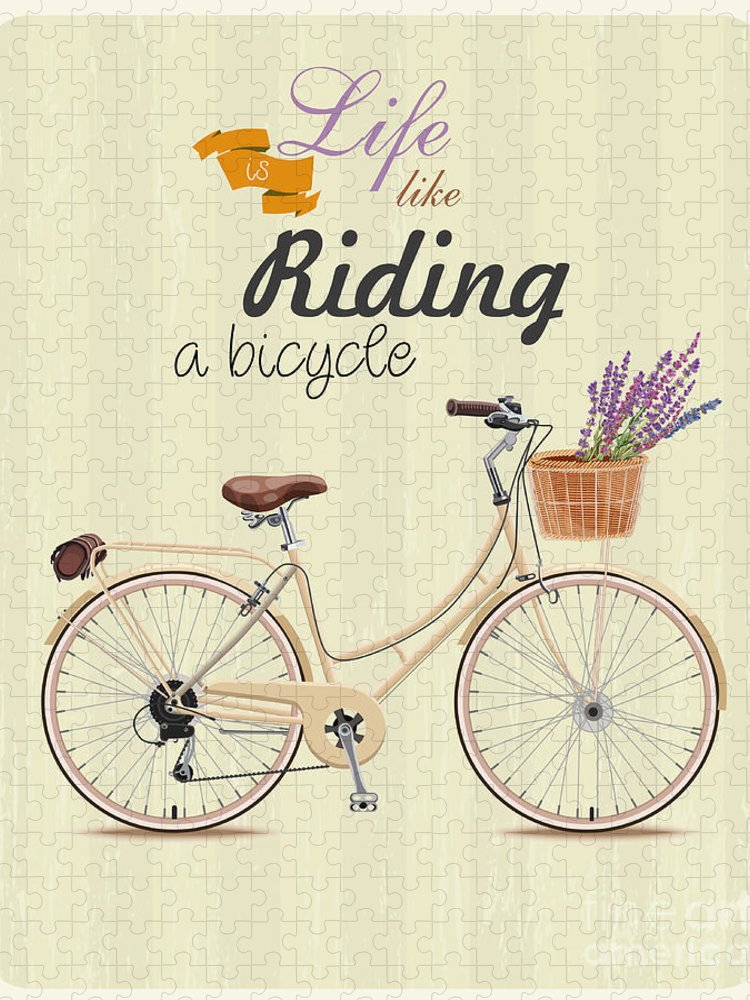 Symbol Puzzle featuring the digital art Bicycle With Lavender In Basket Poster by Tatsiana Tsyhanova