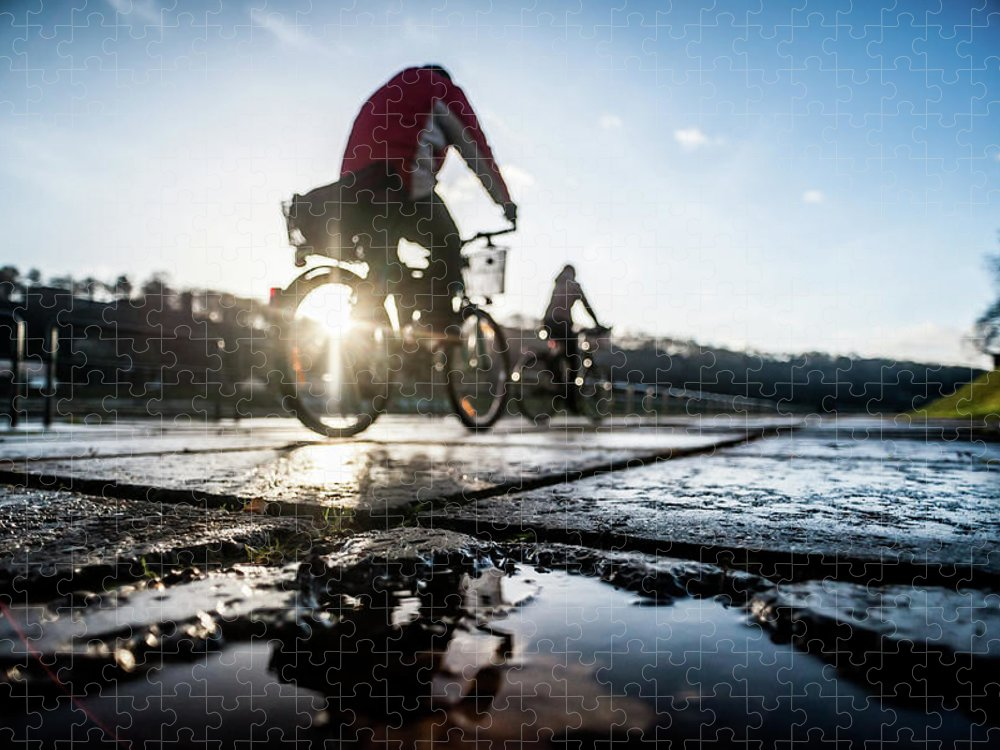 People Puzzle featuring the photograph Bicycles by A. Aleksandravicius
