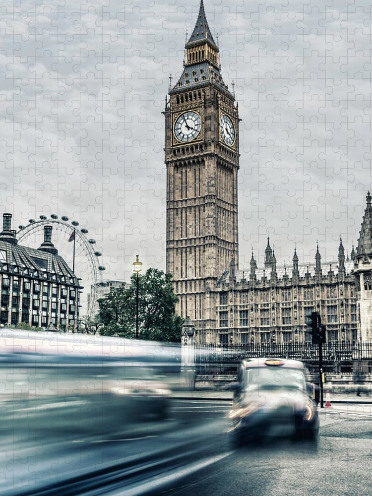 Gothic Style Puzzle featuring the photograph Big Ben At Dusk With Passing Traffic - by Alpamayophoto