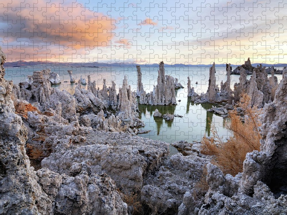 Water's Edge Puzzle featuring the photograph Big Cloud Above Tufas On Mono Lake by Rezus