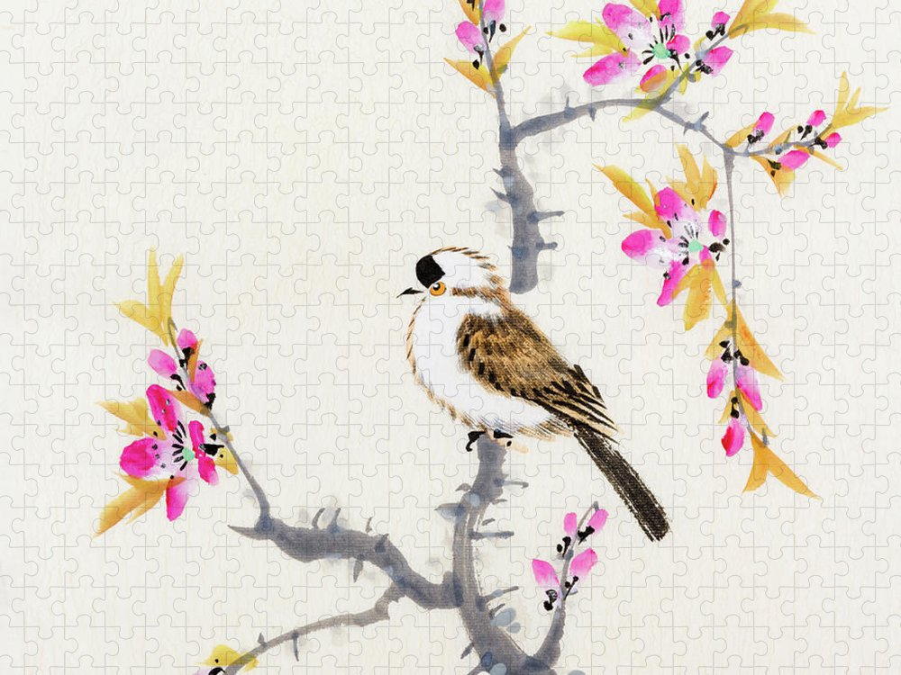 Chinese Culture Puzzle featuring the digital art Birds by Vii-photo