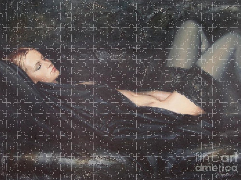 Ignatenko Puzzle featuring the painting Black Silk by Sergey Ignatenko