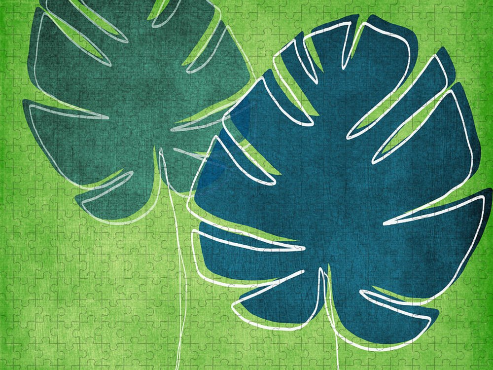 Palm Tree Puzzle featuring the painting Blue and Green Palm Leaves by Linda Woods