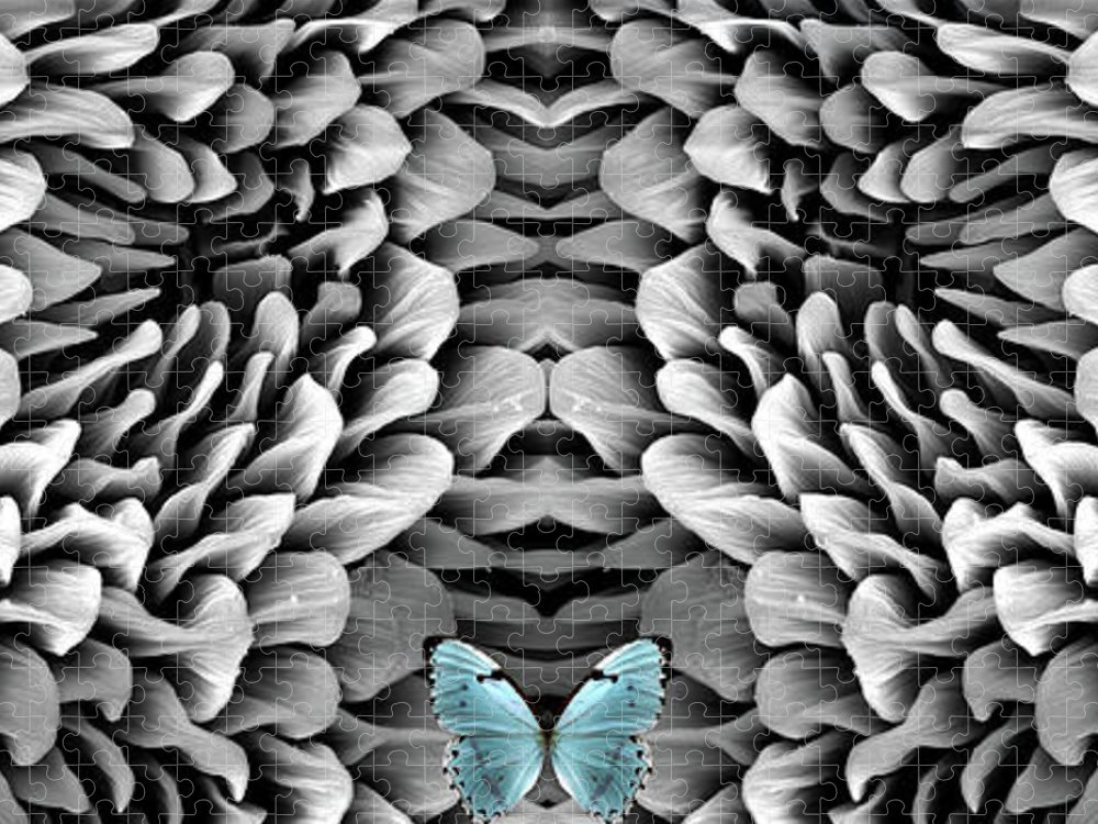 Microscope Puzzle featuring the photograph Blue Butterfly And Antenna by Sheri Neva